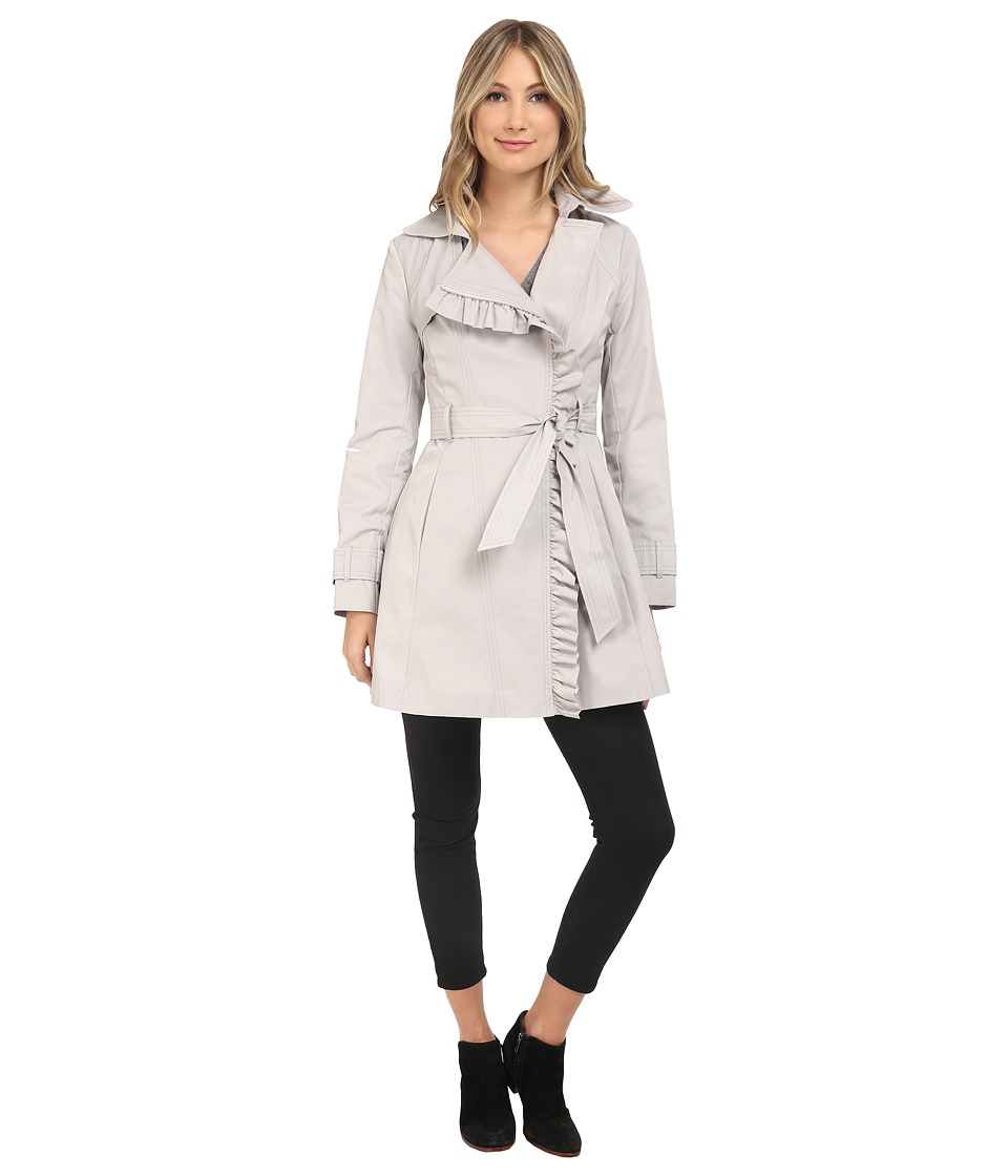 Jessica Simpson - Belted Ruffle Trench (Silver) Women's Coat