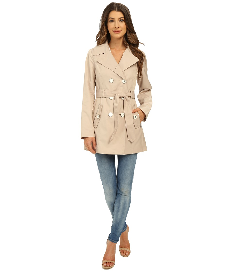 Jessica Simpson - Double Breasted Belted Trench (Stone) Women's Coat