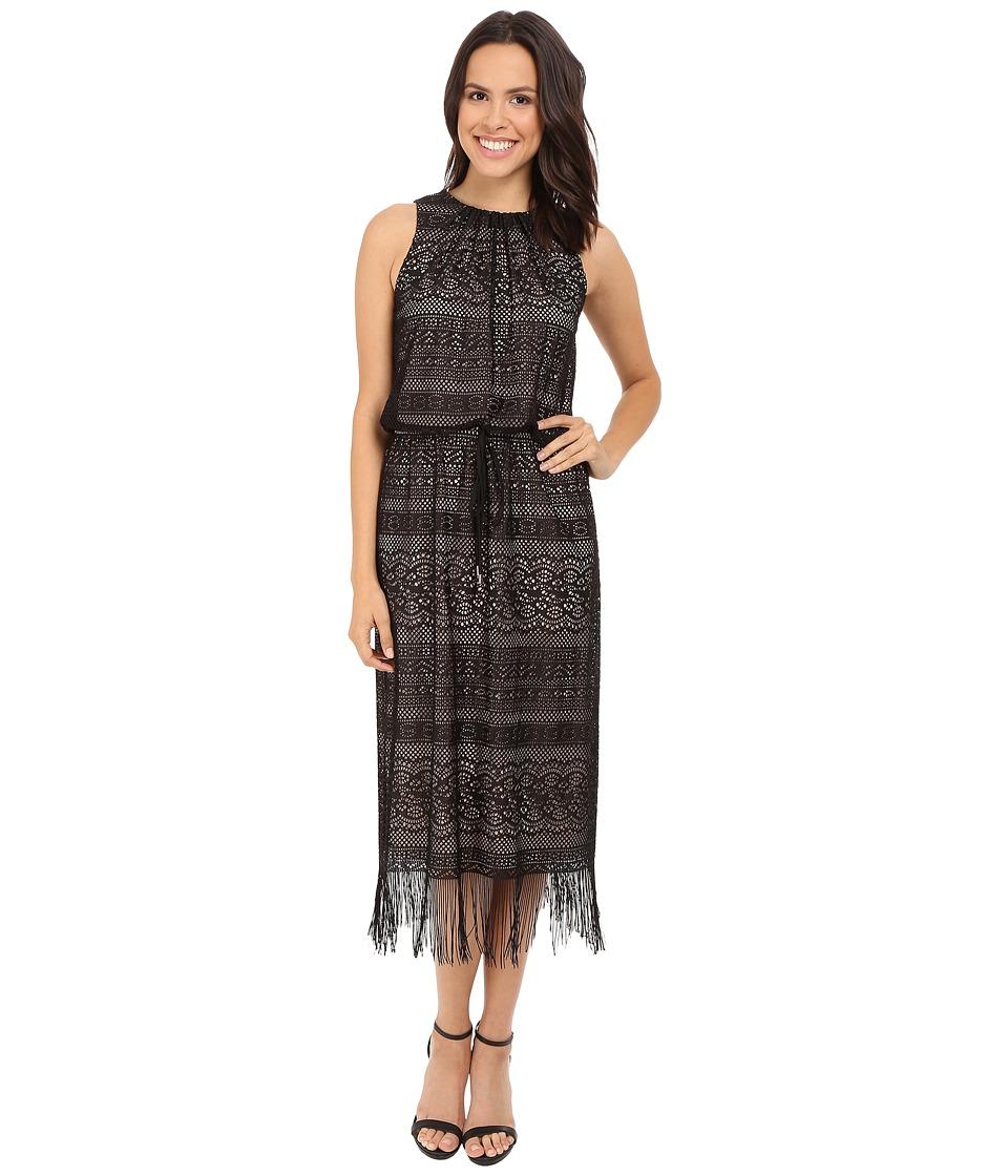 London Times - Geo Stripe Fringe Blouson Maxi Dress (Black/Nude) Women's Dress