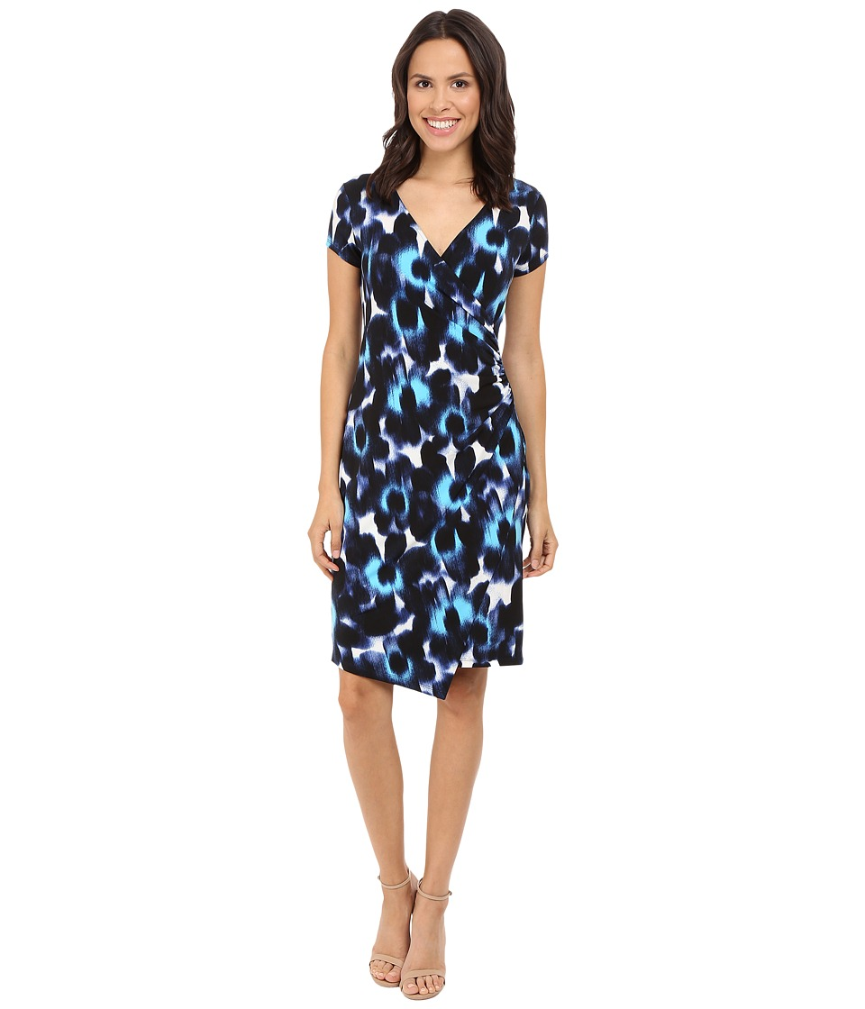 London Times - Woodstamp Daisy Side Ruched Dress (Blue) Women's Dress