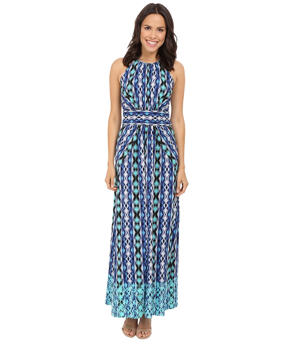 London Times Ikat Stripe Halter Maxi Dress (Aqua) Women