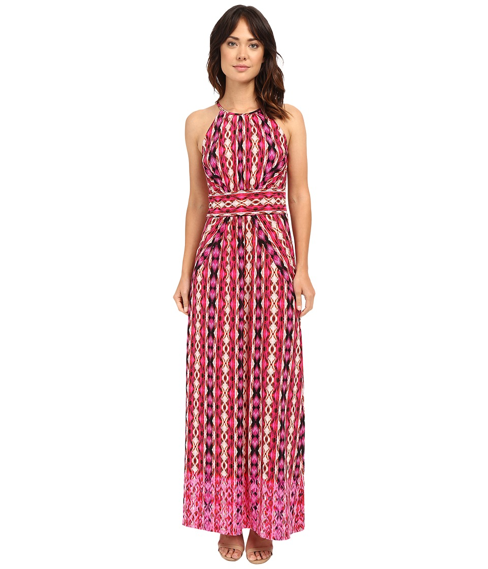 London Times Ikat Stripe Halter Maxi Dress (Pink) Women