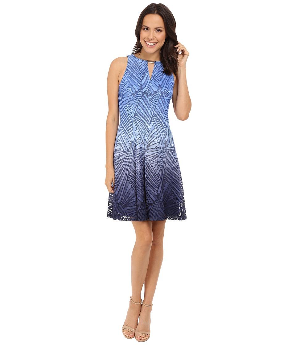 London Times Ombre Palm Lace Fit Flare Dress (Denim) Women