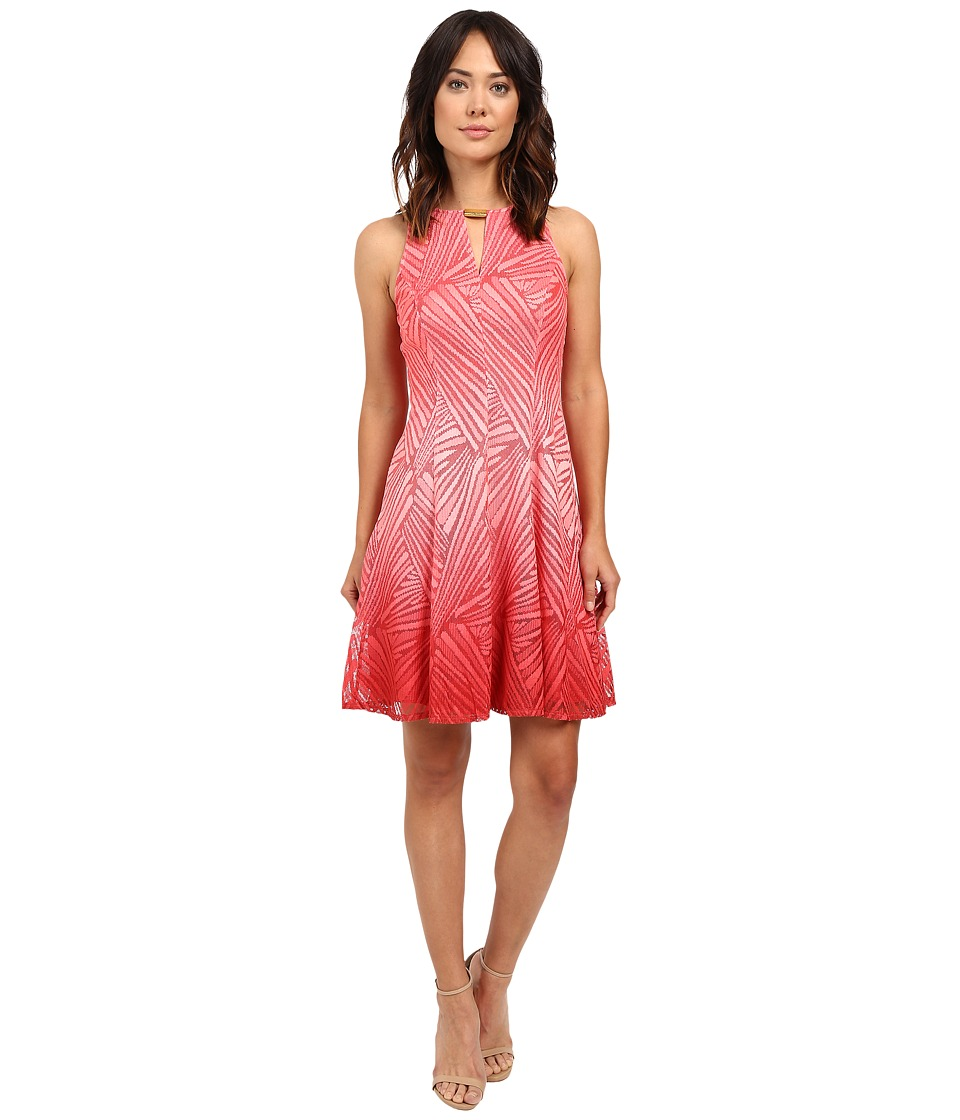 London Times Ombre Palm Lace Fit Flare Dress (Pink) Women