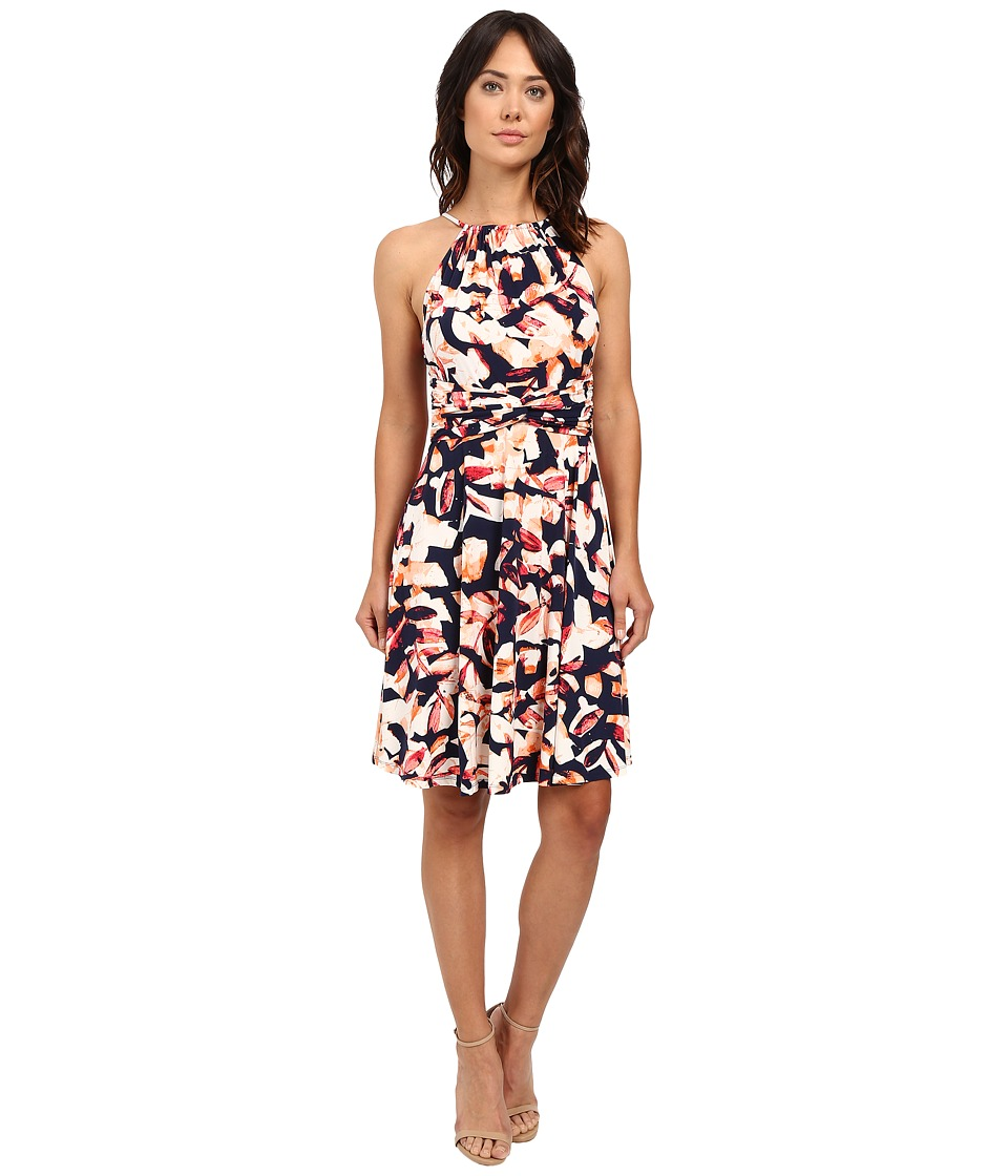 London Times - Print MJ Halter Fit Flare Dress (Navy/Orange) Women's Dress