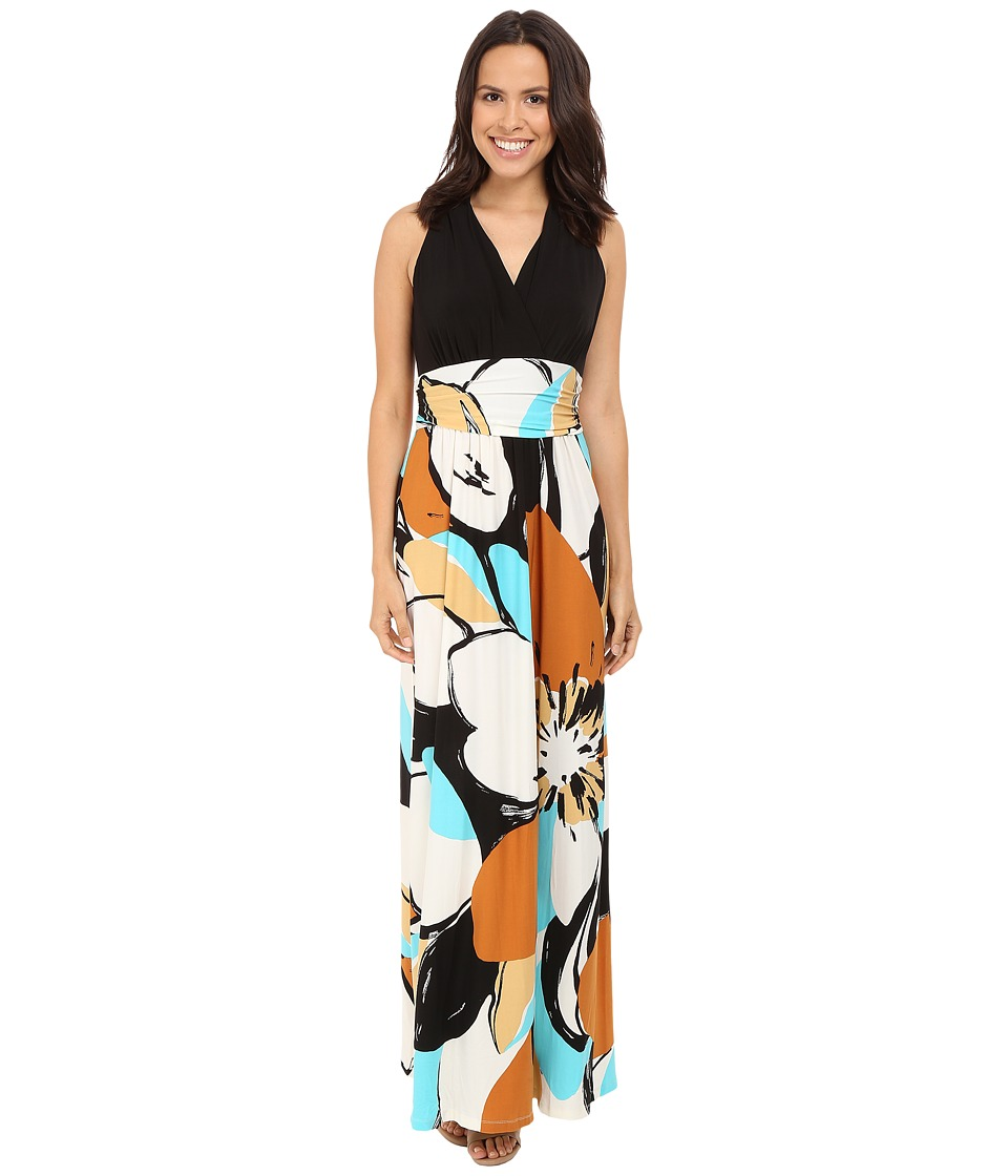 London Times - Graphic Daisy Ruched Inset Waist Dress (Black/Copper) Women's Dress