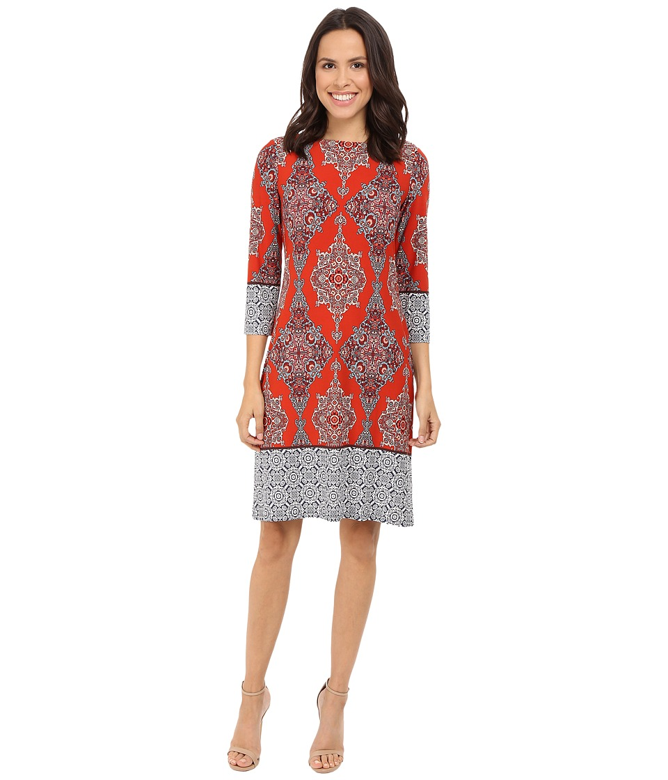 London Times Carpet Border Long Sleeve Shift Dress (Rust Multi) Women