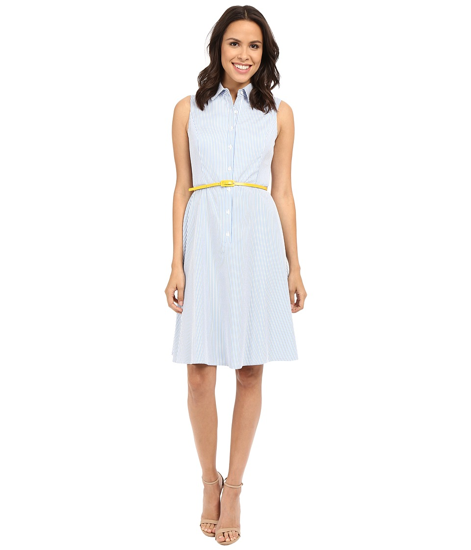 London Times - Seersucker Belted Fit Flare Dress (Blue/White) Women's Dress