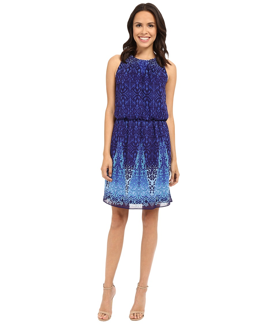 London Times - World Ikat Sleeveless Blouson Dress (Blue) Women's Dress