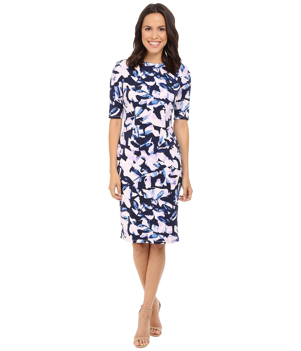 London Times - Extended Short Sleeve Printed Sheath Dress (Navy/Lilac) Women's Dress