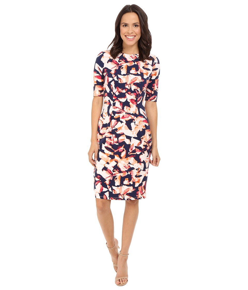London Times - Extended Short Sleeve Printed Sheath Dress (Navy/Orange) Women's Dress