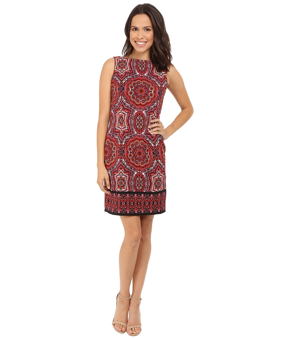 London Times - Prada Twill Star Paisley Sheath Dress (Red Multi) Women's Dress