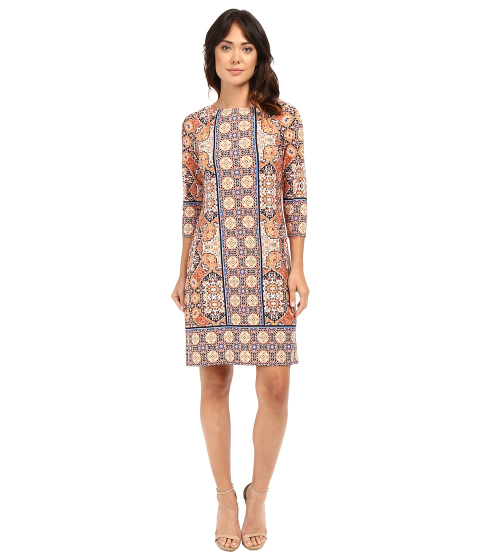 London Times - Magic Carpet Long Sleeve Shift Dress (Orange Multi) Women's Dress