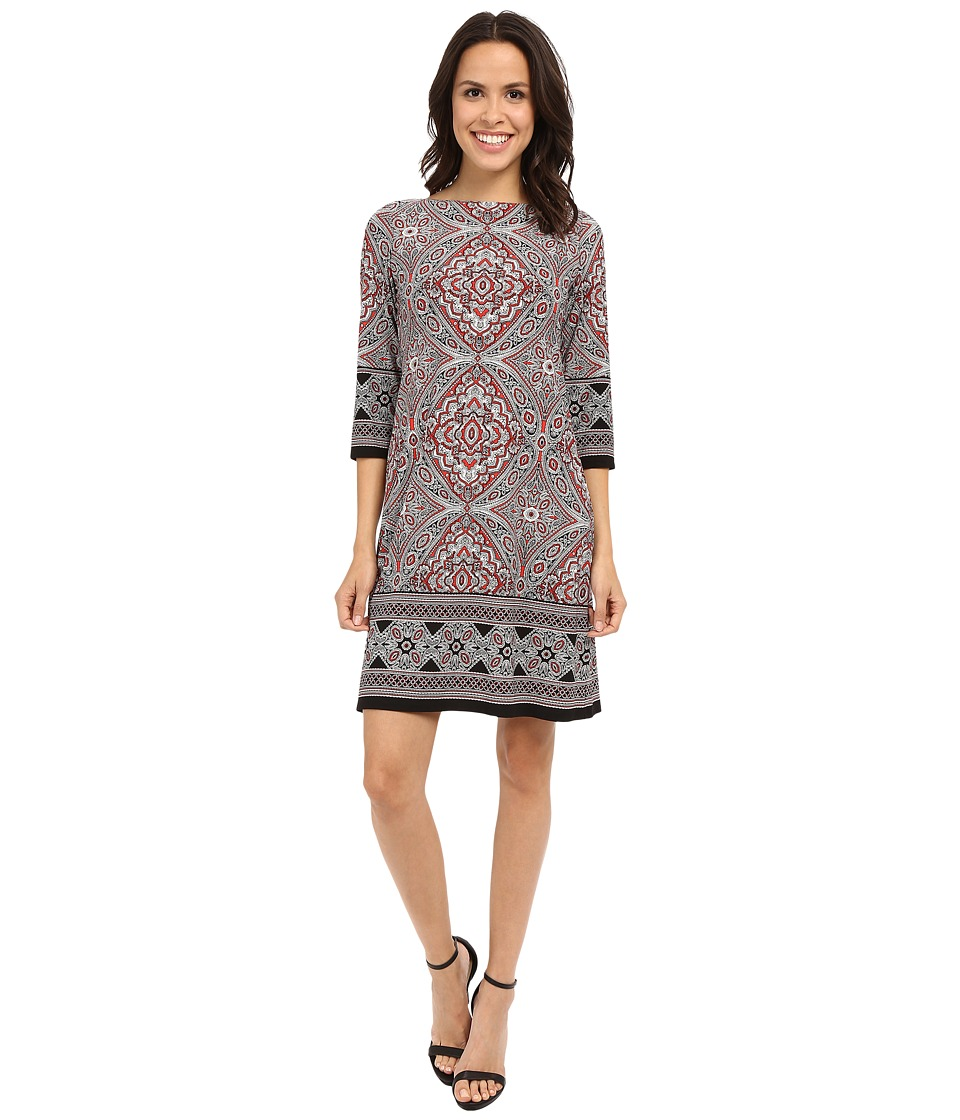 London Times 3/4 Sleeve Printed Shift Dress (Red/White) Women