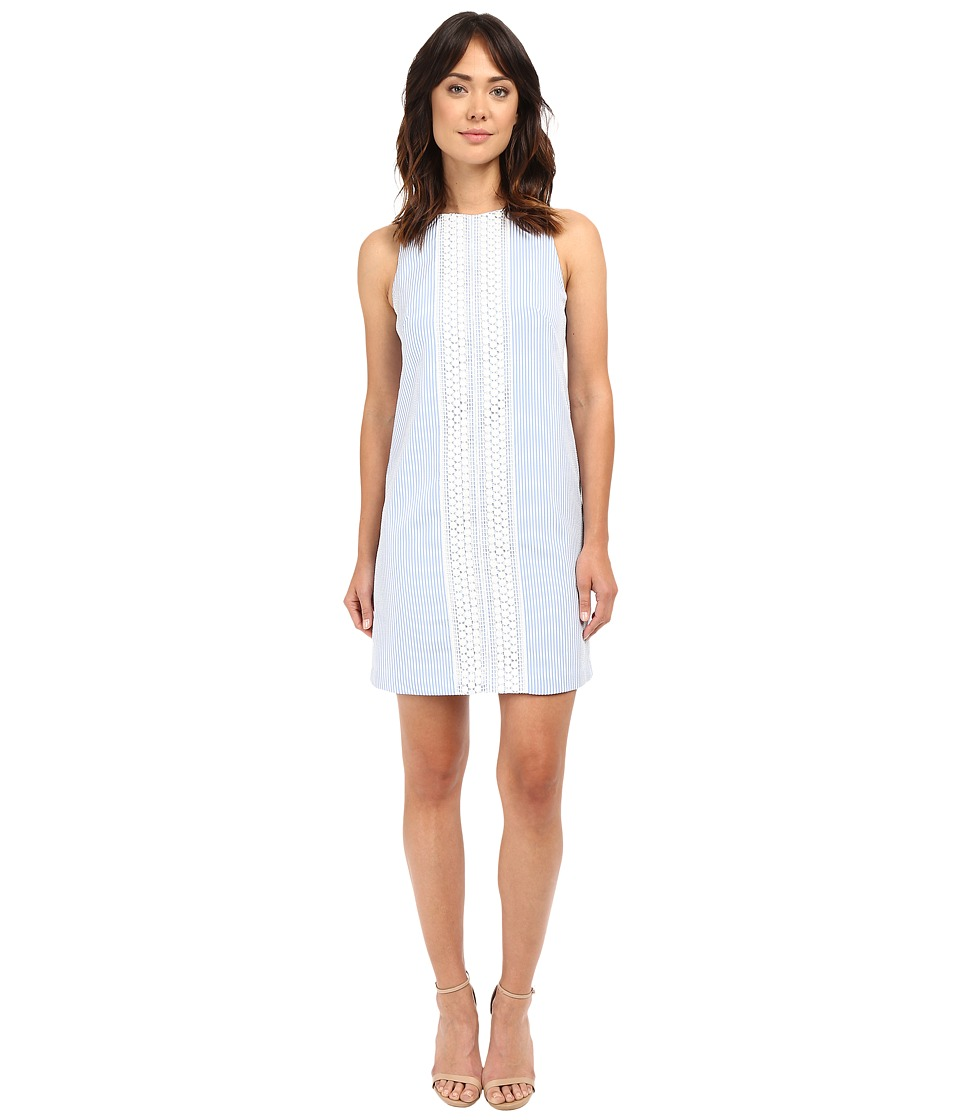 London Times - Seersucker Shift Dress w/ Crochet Detail (Blue/White) Women's Dress