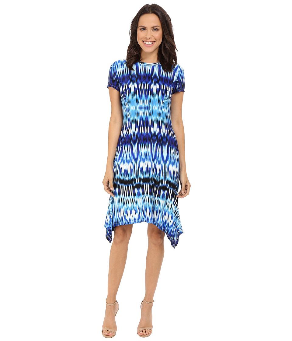 London Times Summer Ikat Short Sleeve Hanky Dress (Blue) Women