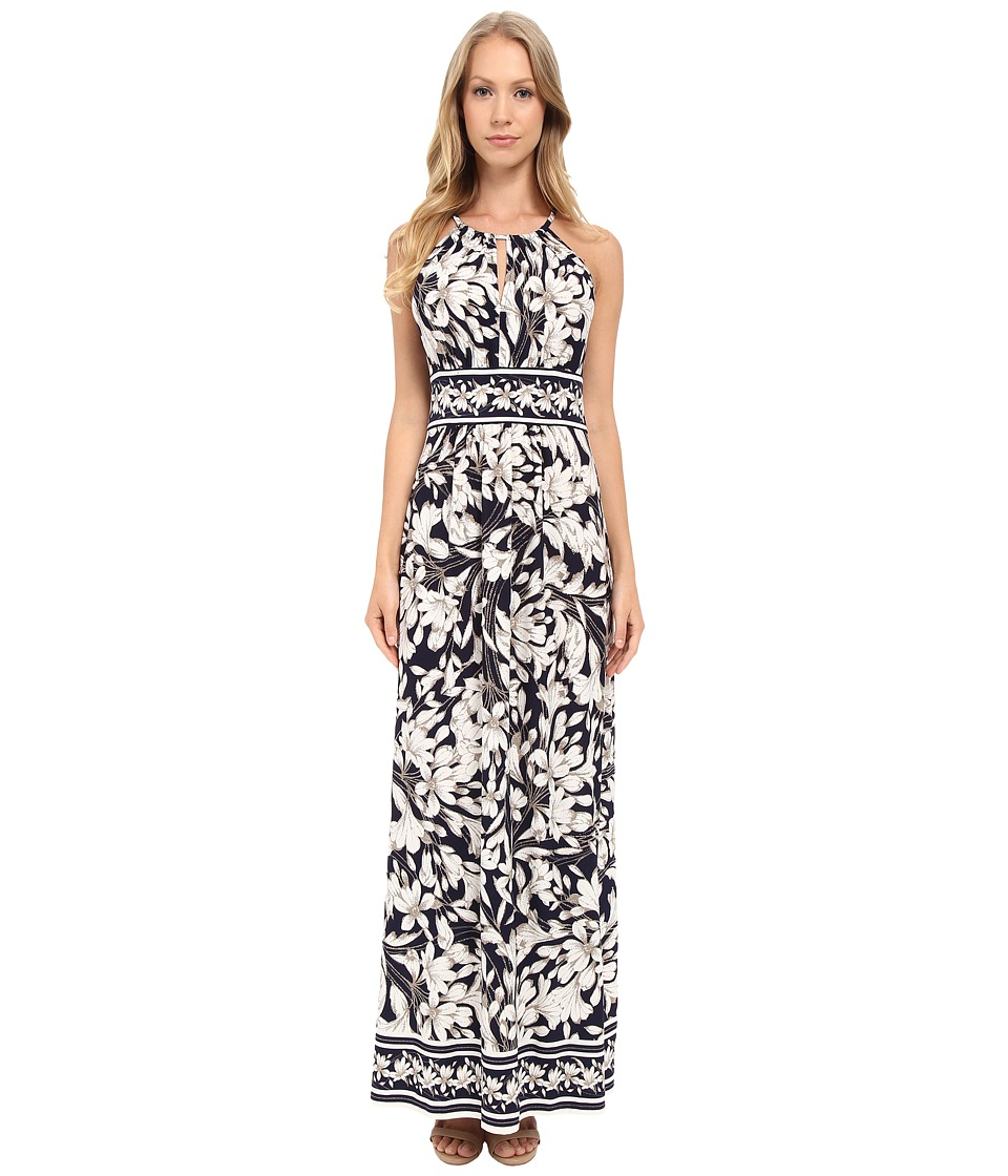 London Times - Keyhole Halter Maxi Dress (Navy/Beige) Women's Dress