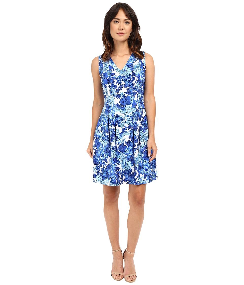 London Times - Forest Floral V-Neck Fit Flare Dress (Blue) Women's Dress