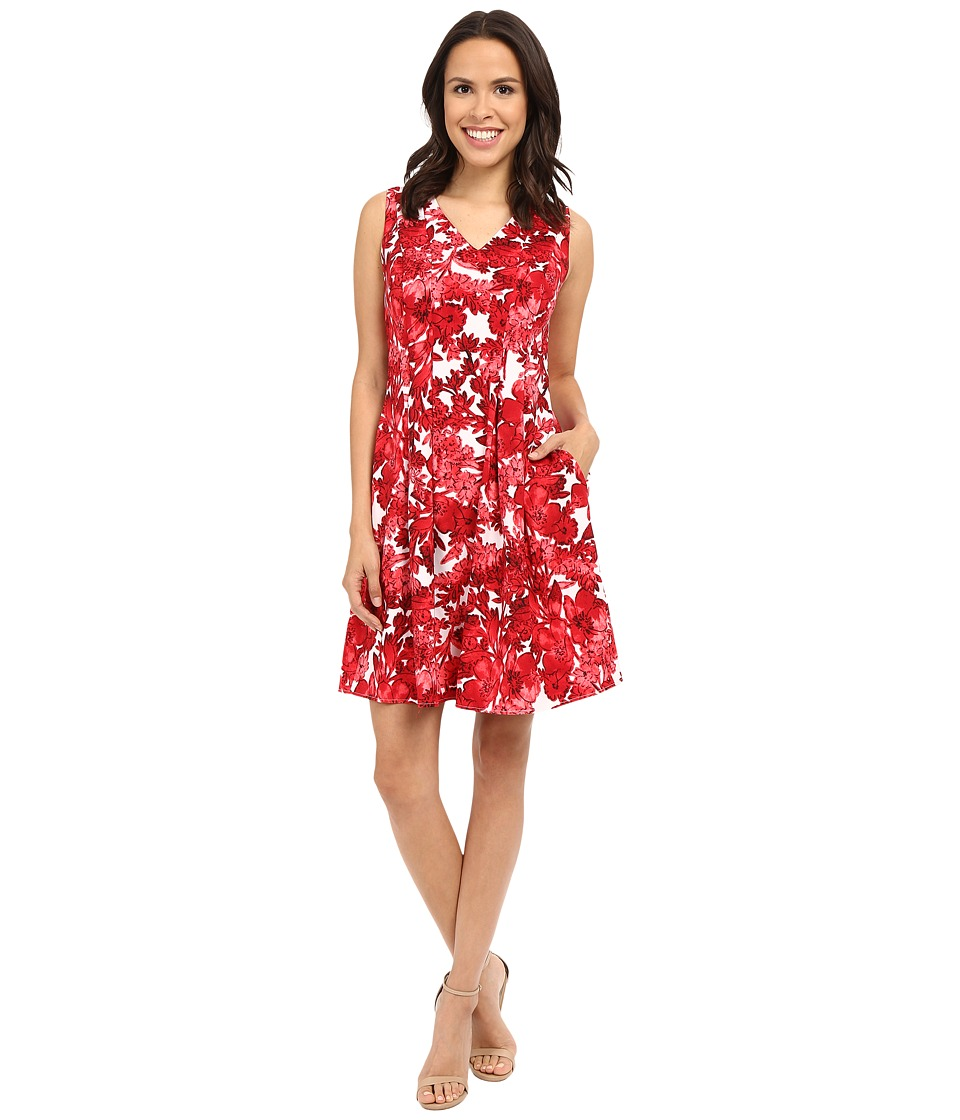 London Times - Forest Floral V-Neck Fit Flare Dress (Red) Women's Dress