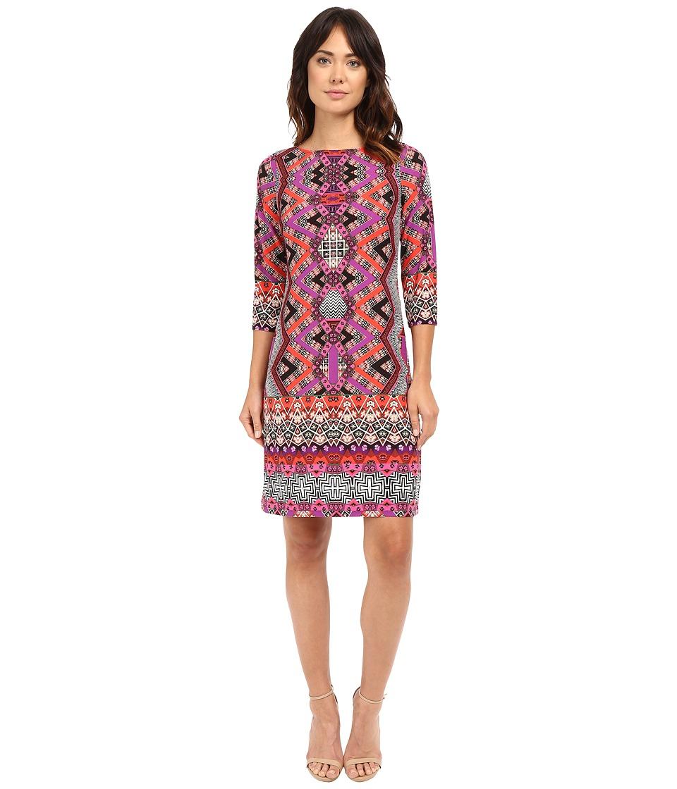London Times Chevron Puzzle Long Sleeve Shift Dress (Coral Multi) Women