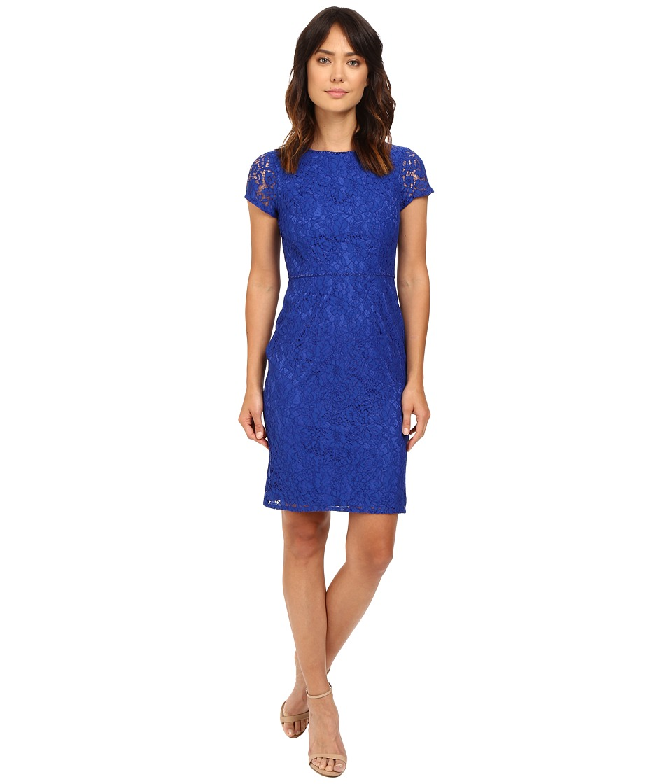 Adrianna Papell - Bead Neckline and Waist Katie Lace Sheath Dress (Yves Blue) Women's Dress