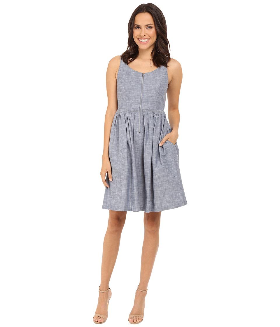 London Times - Denim Full Skirt (Denim) Women's Dress