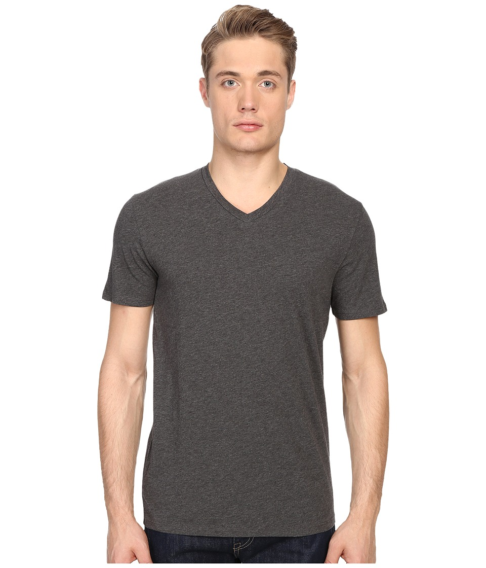 Vince - Short Sleeve Pima Cotton V-Neck Shirt (Heather Carbon) Men's Short Sleeve Pullover