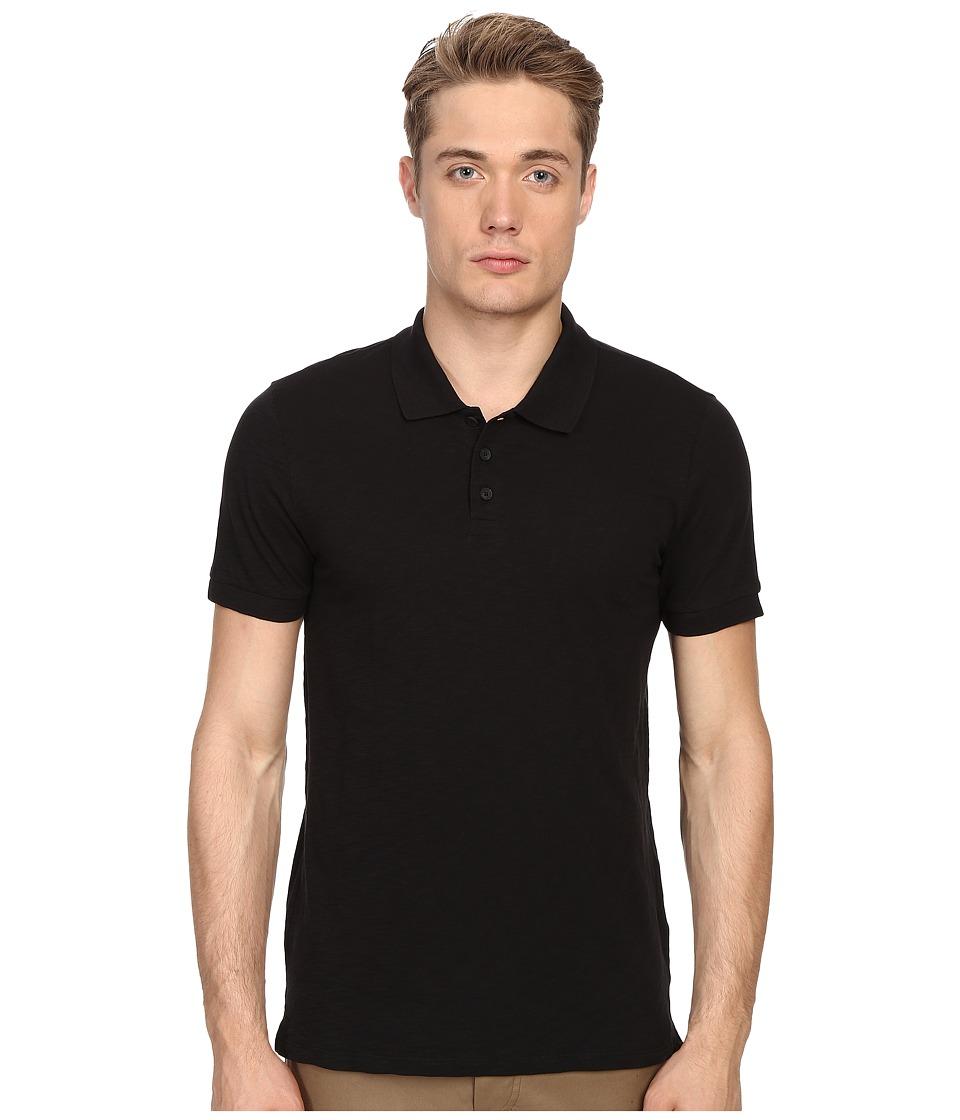 Vince - Short Sleeve Slub Polo Shirt (Black) Men's Short Sleeve Knit