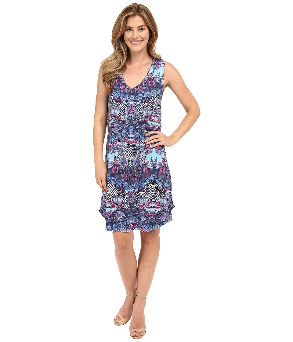 Nally & Millie - Blue V-Neck Tank Dress (Multi) Women's Dress