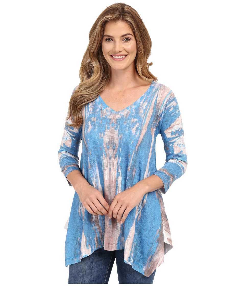 Nally & Millie - 3/4 Sleeve V-Neck Printed Tunic (Multi) Women's Blouse