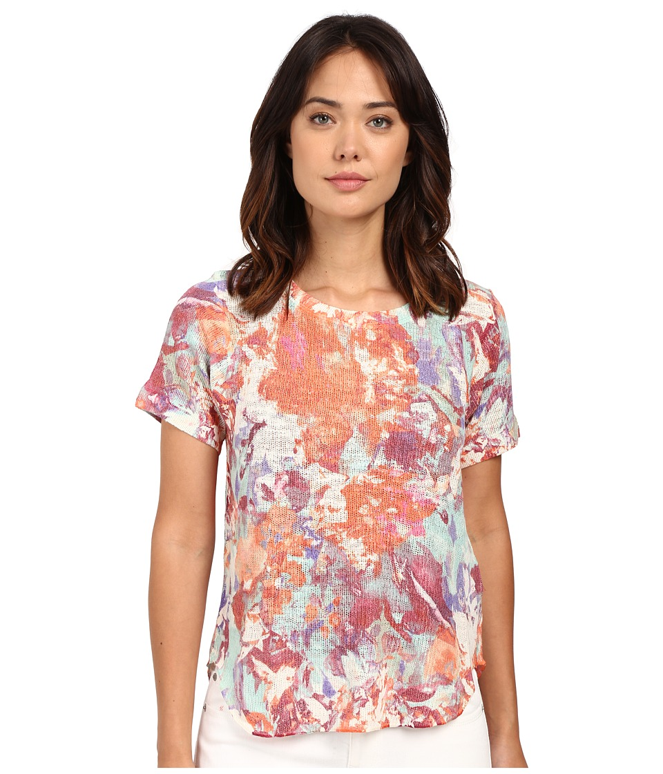 Nally & Millie Short Sleeve Floral Knit Tee (Multi) Women's Blouse