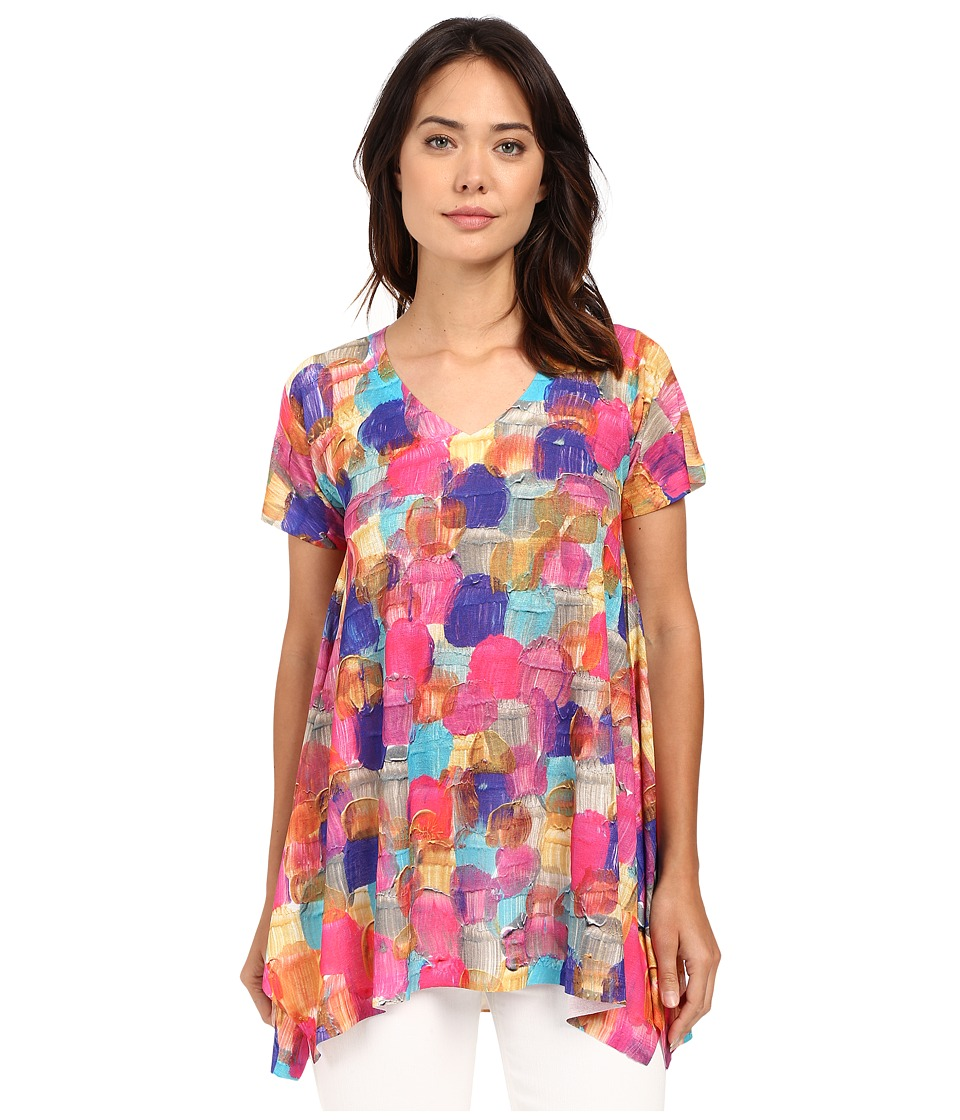 Nally & Millie - V-Neck Short Sleeve Paint Brush Tunic (Multi) Women's Blouse