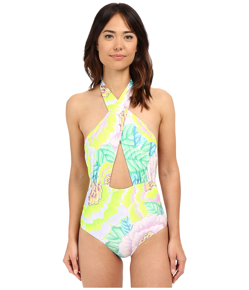 Mara Hoffman - Cross Front Halter One-Piece (Flora White) Women's Swimsuits One Piece
