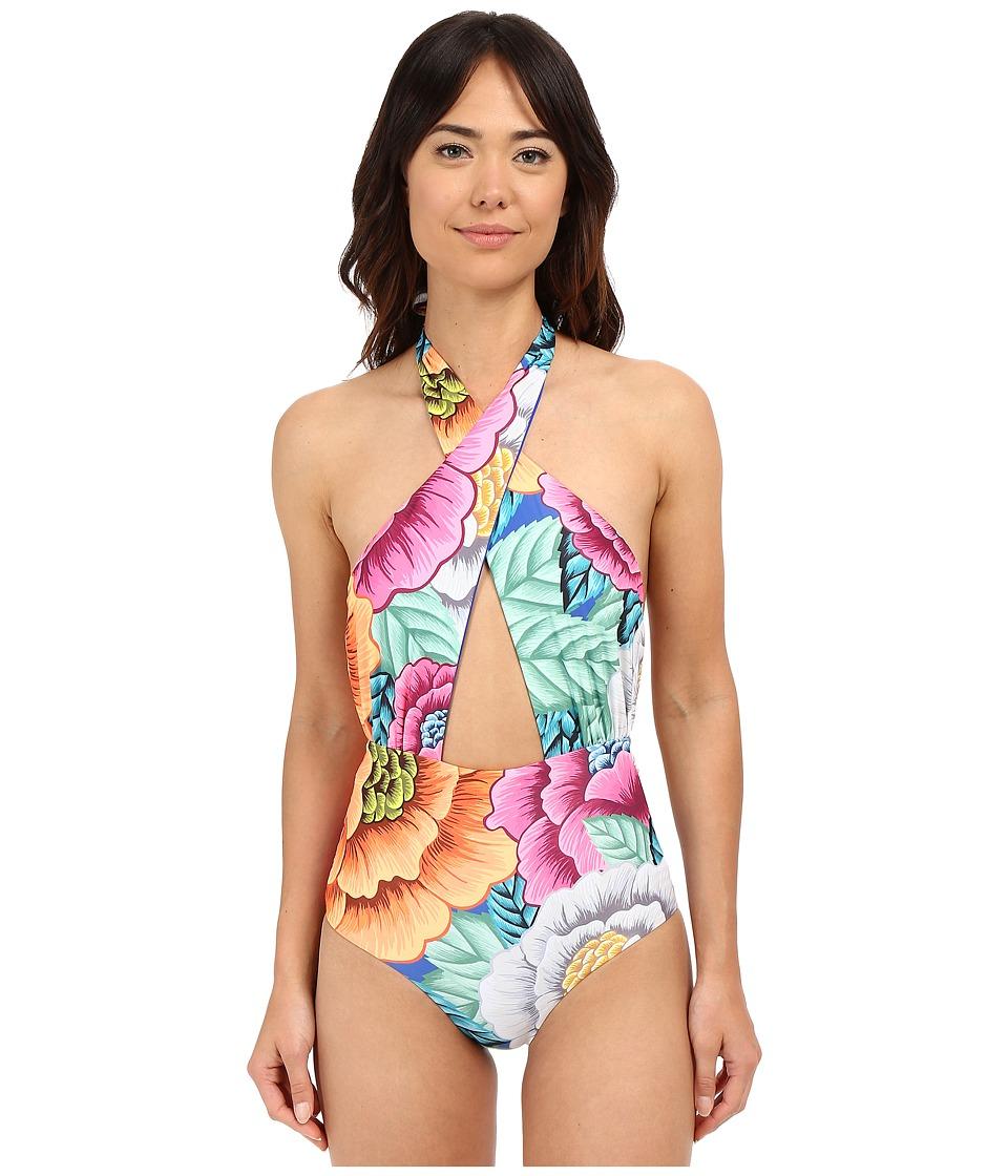 Mara Hoffman - Cross Front Halter One-Piece (Flora Blue) Women's Swimsuits One Piece