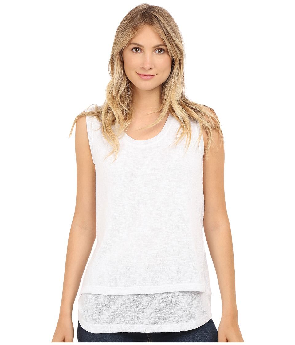 Nally & Millie - High-Low Tank Top with Side Slits (White) Women's Sleeveless