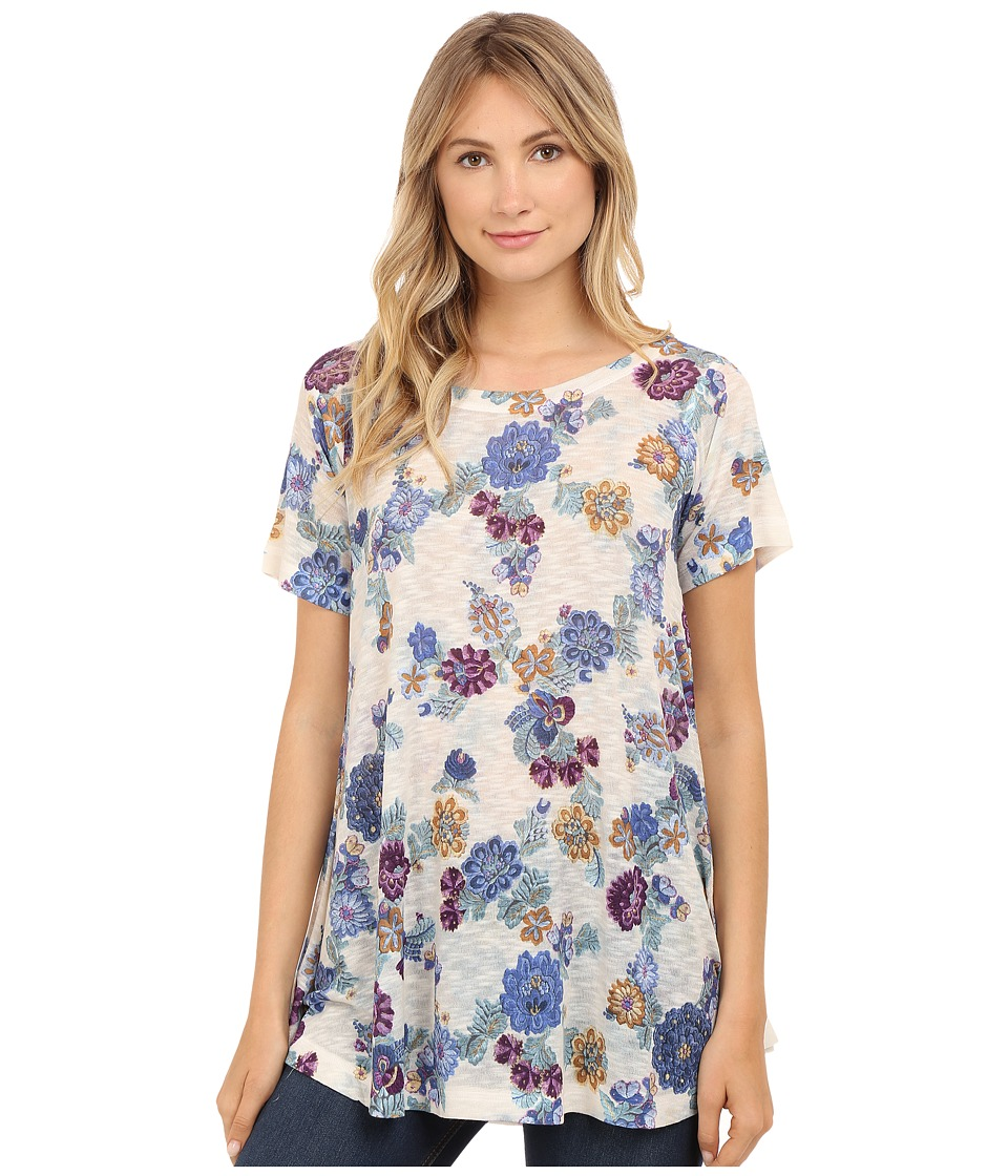 Nally & Millie - Embroidered Floral Print Tunic (Multi) Women's Clothing