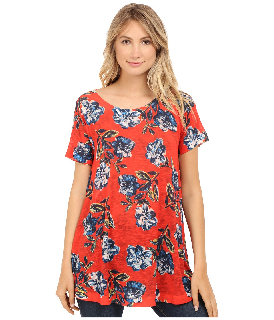 Nally & Millie - Red Floral Short Sleeve Tunic (Red Multi) Women's Clothing