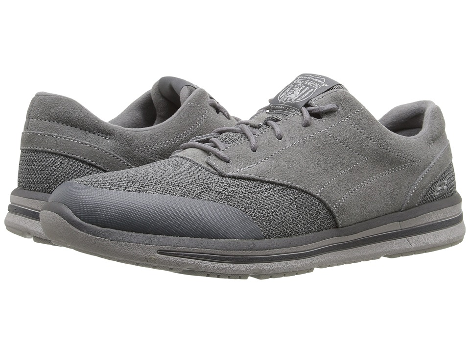 SKECHERS - Relaxed Fit Doren - Westin (Charcoal Suede/Mesh) Men's Lace up casual Shoes