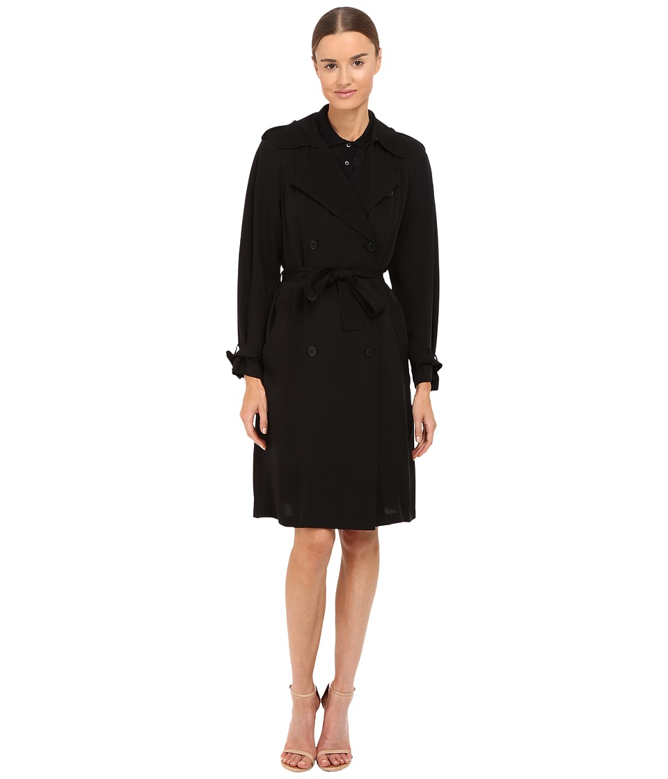 Theory - Laurel Wood Mondern Georgette Trench Jacket (Black) Women's Coat