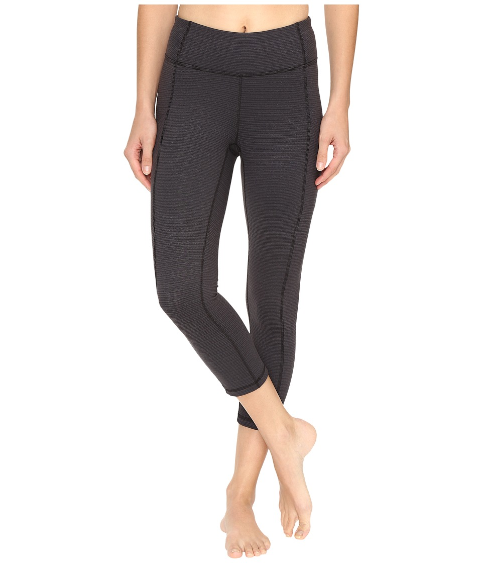 Lucy - Power Train Pocket Capris (Lucy Black Tonal Stripe) Women's Workout
