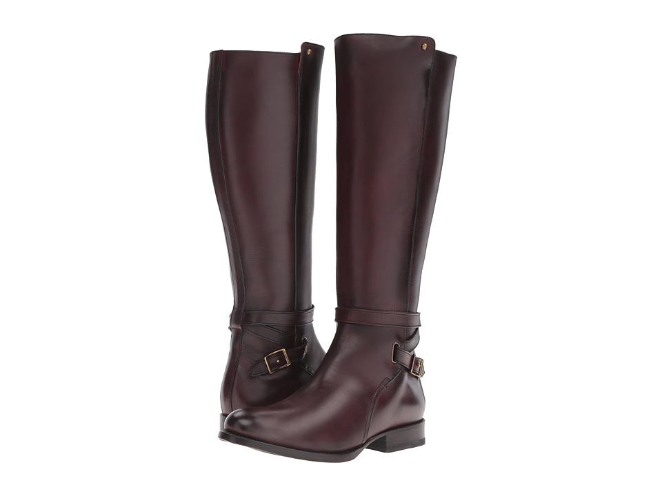Frye Jordan Strap Tall (Bordeaux Smooth Veg Calf) Women
