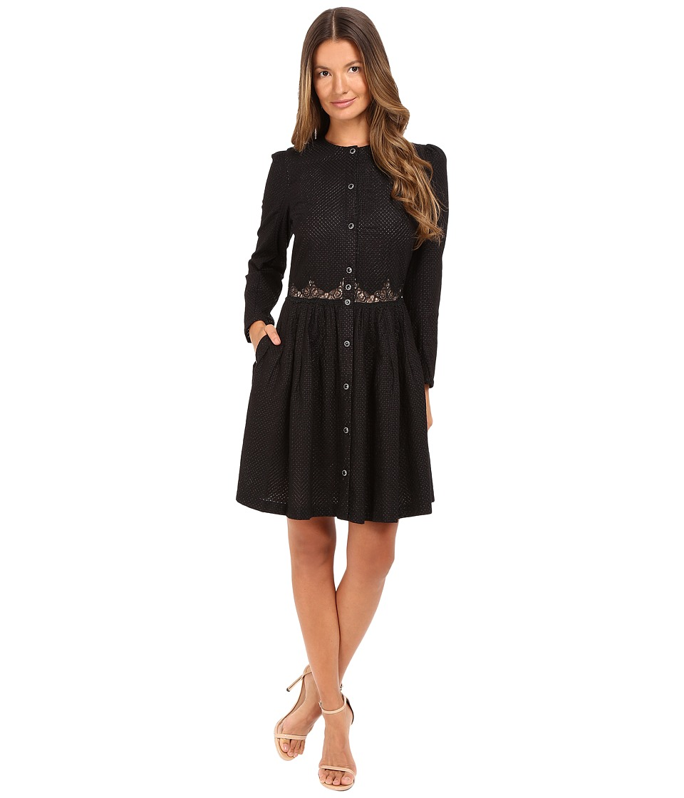 The Kooples - Embroidered Cotton Long Sleeve Dress (Black) Women's Dress