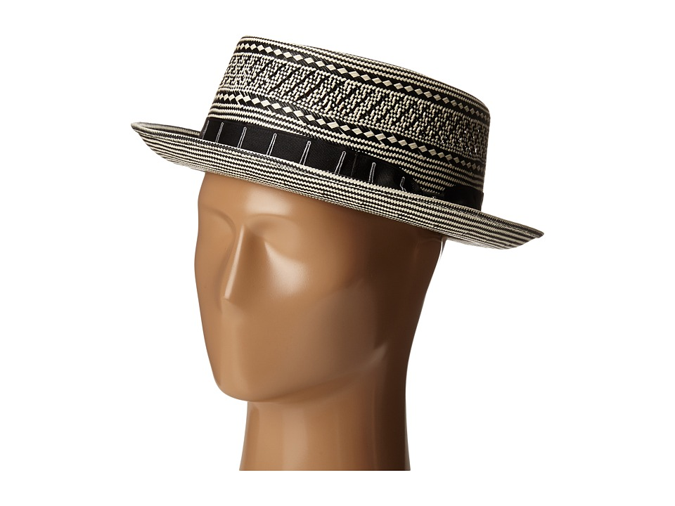 CARLOS by Carlos Santana - Two-Tone Shantung Pork Pie (Black) Caps
