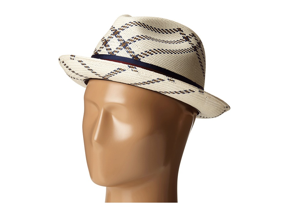 CARLOS by Carlos Santana - Shantung with Pattern Pinch Front Fedora (Ivory) Fedora Hats