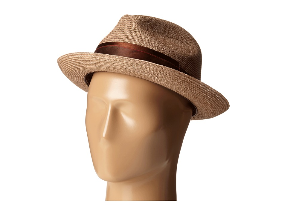 CARLOS by Carlos Santana - Hemp Pinch Front Fedora (Chocolate) Fedora Hats