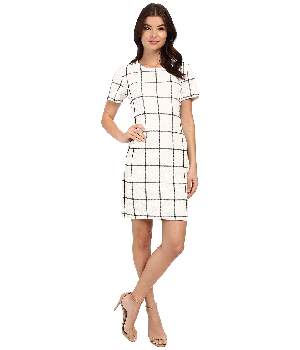 Christin Michaels - Textured Plaid Dress (White/Black) Women's Dress