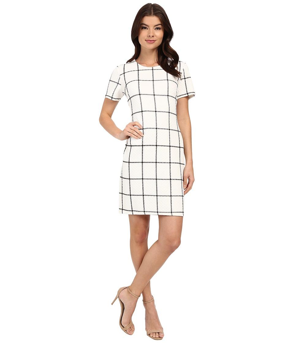 Christin Michaels - Textured Plaid Dress (White/Black) Women's Dress
