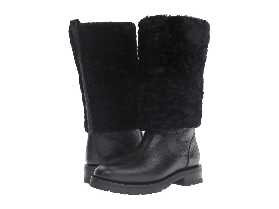 Frye - Natalie Cuff Lug (Black Waterproof Waxed Pebbled Leather/Shearling) Women's Pull-on Boots