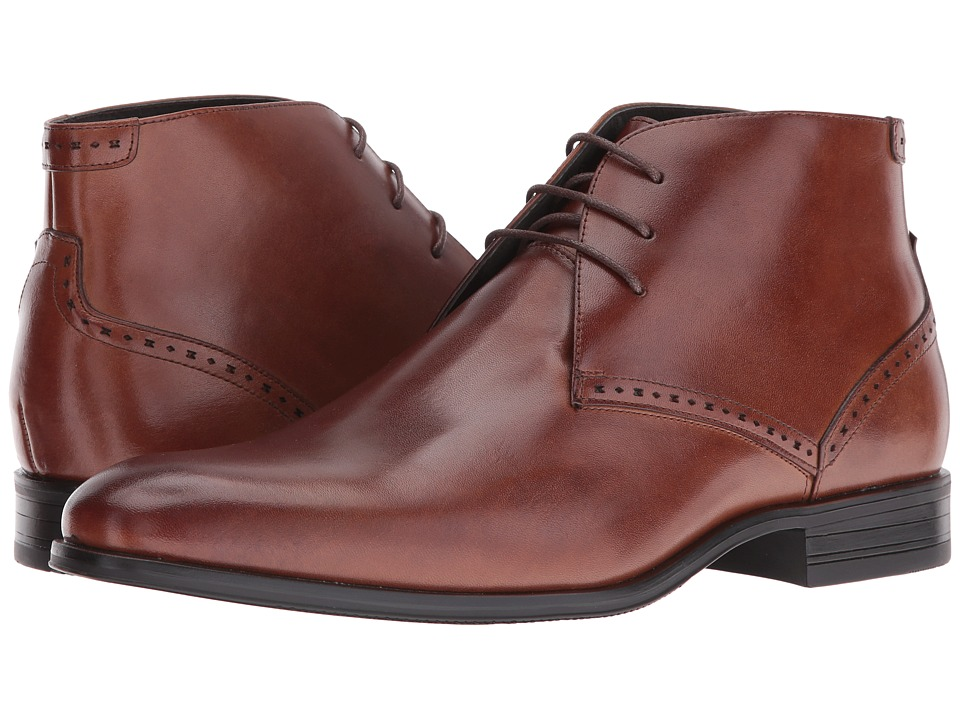 Stacy Adams Strickland Plain Toe Lace Chukka Boot (Cognac) Men