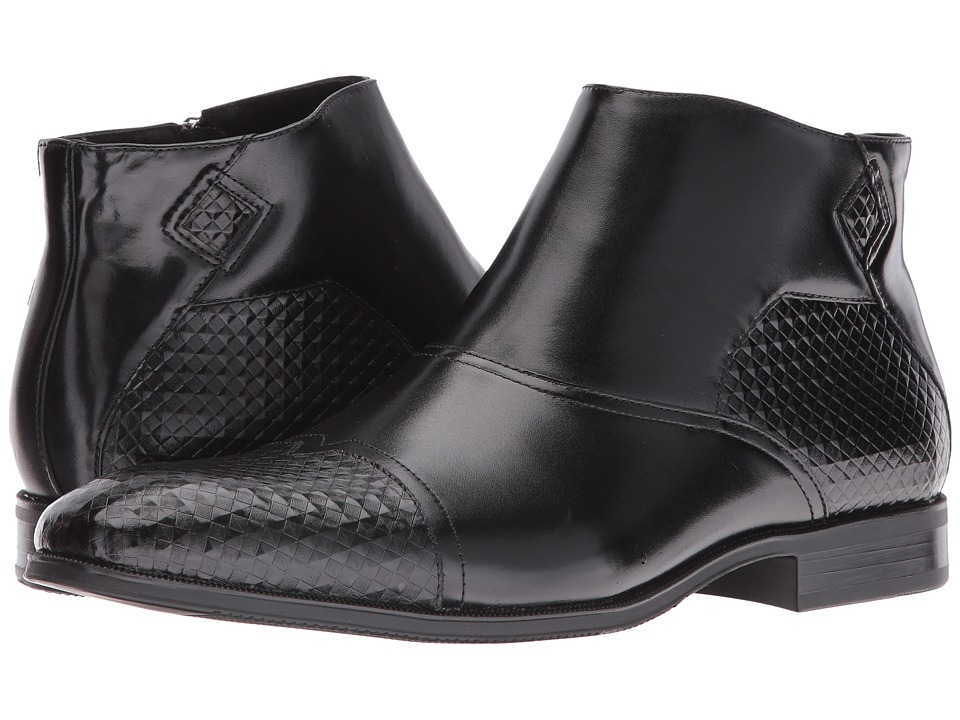 Stacy Adams - Faramond Modified Cap Toe Side Zipper Boot (Black) Men's Zip Boots